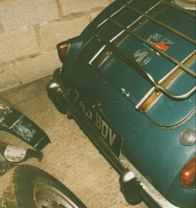 Photograph of the rear license plate on a blue MGA Roadster