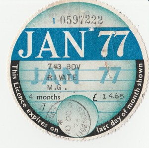 Photograph of the original car tax from January 1977