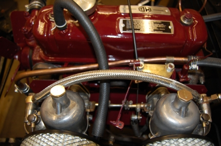 Choke cable still required and throttle cable not attached. MGA 1500 carburettors.