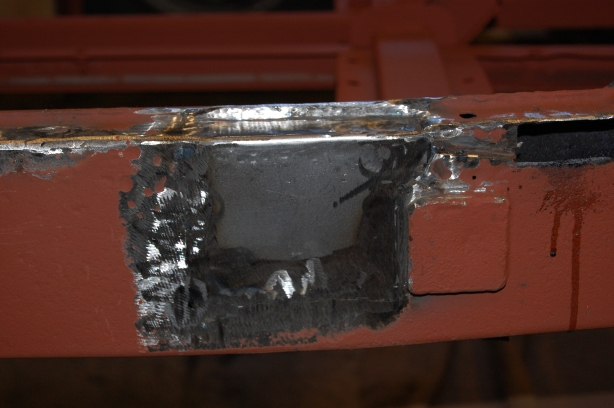 Finished flush repair - other smaller perforations were ground back and filled with weld. Further welding was carried out after this shot, where weld hadn't penetrated sufficiently. One repair section from MGOC is £39.00, so worth the effort.