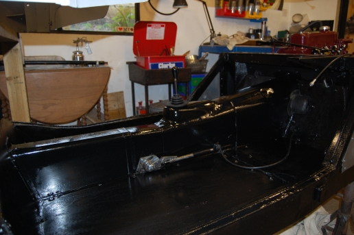 Final painting of boards and finished gearbox/propshaft tunnel. Positioning and routing of speedo cable can be seen which will eventually be hidden under the carpet.