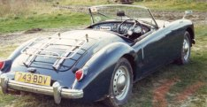 Photograph of a blue MGA 1959 1500 Roadster