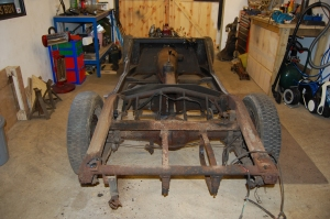 Fortunately, bad as it looks, the chassis is in good shape with mainly surface rust to be dealt with.
