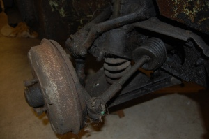 Before - a depressing sight.MGA 1500 front suspension.