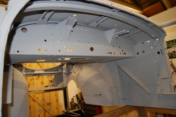 Areas of repair and final welding still required to complete bodyshell.