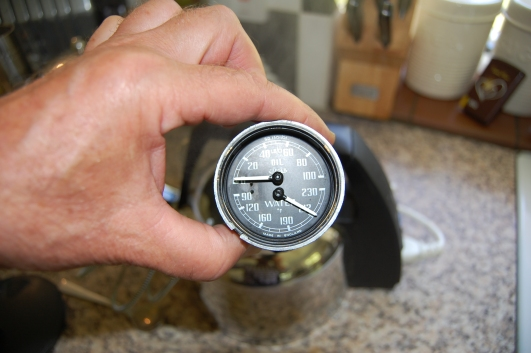 The temperature needle was fitted while holding the sensor in a kettle of boiling water, to match it to boiling point.